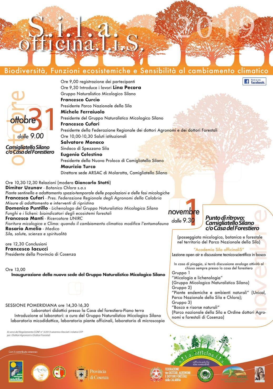 """A Camigliatello Silano dal 31 ottobre - 1 novembre 2019: """"Sila Officinalis - Biodiversità, Funzioni ecosistemiche e Sensibilità al cambiamento climatico"""""""