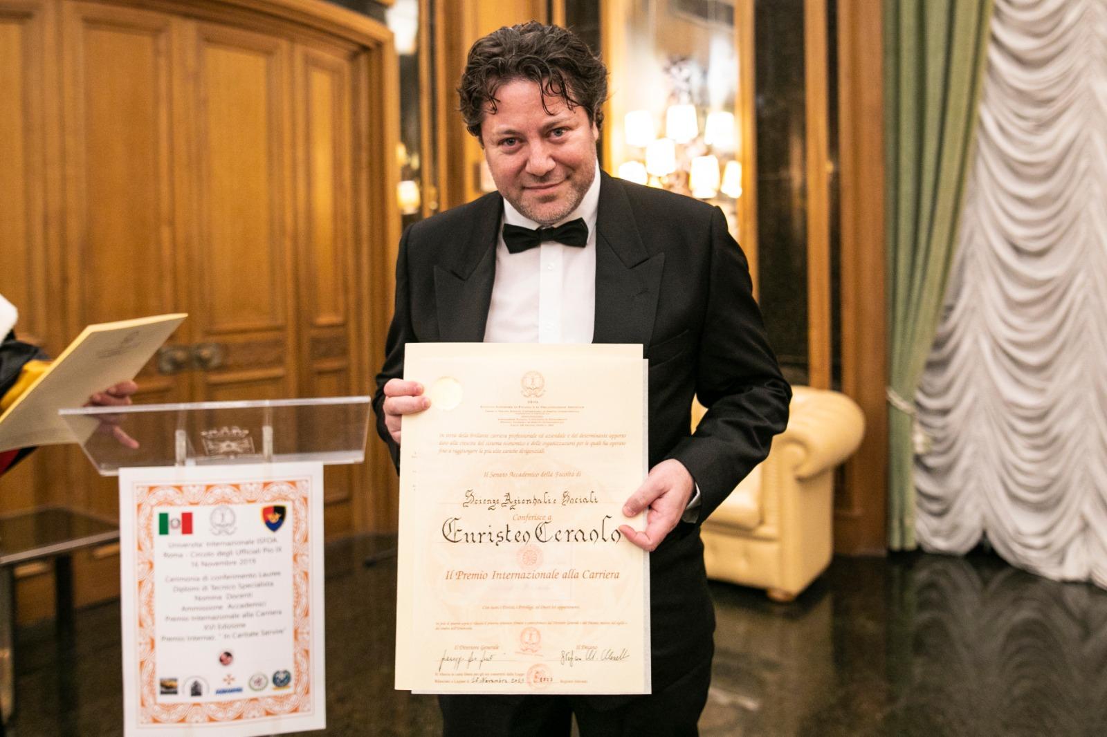 Ad Euristeo Ceraolo il XVI Premio Internazionale ISFOA alla Carriera e il sociale
