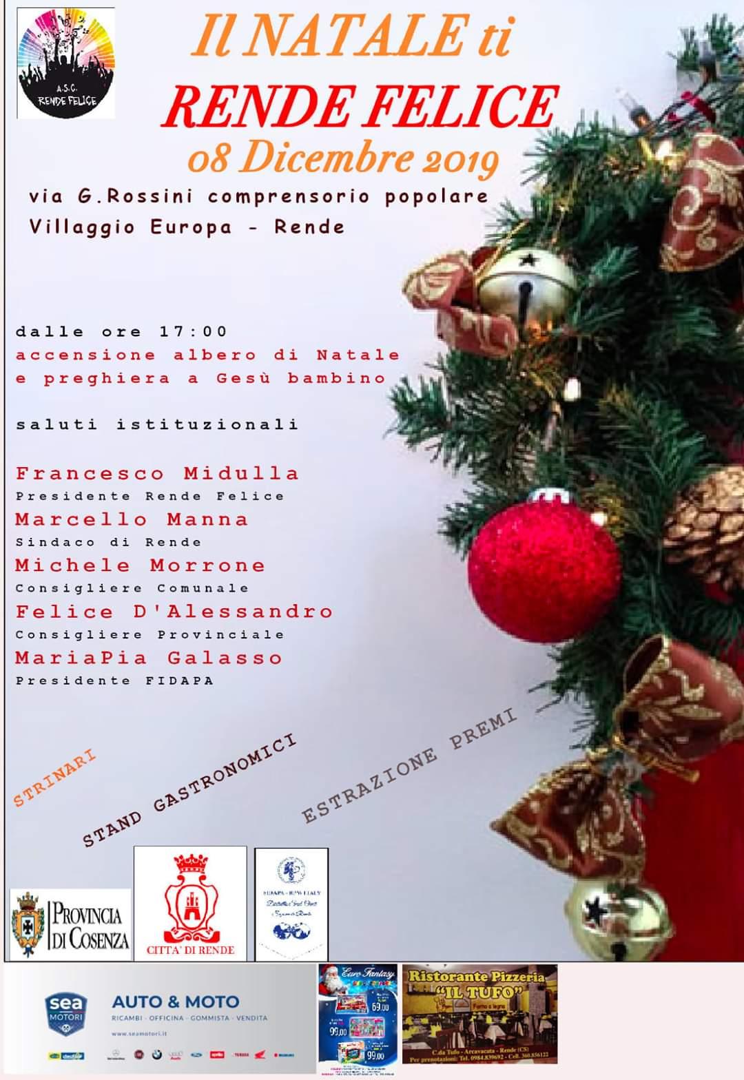 """A.s.c Rende Felice: """"il Natale ti Rende Felice"""" l'8 Dicembre a Villaggio Europa"""