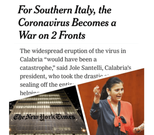 """Coronavirus, il New York Times elogia il """"modello Calabria"""""""
