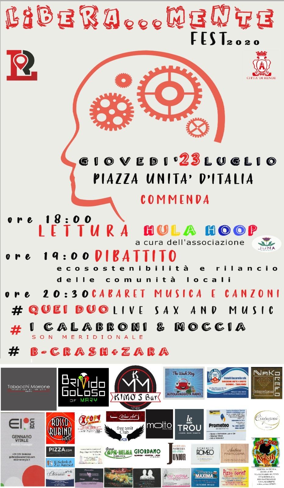 Rende: tutto pronto per il LiberaMente Fest2020 a Commenda!