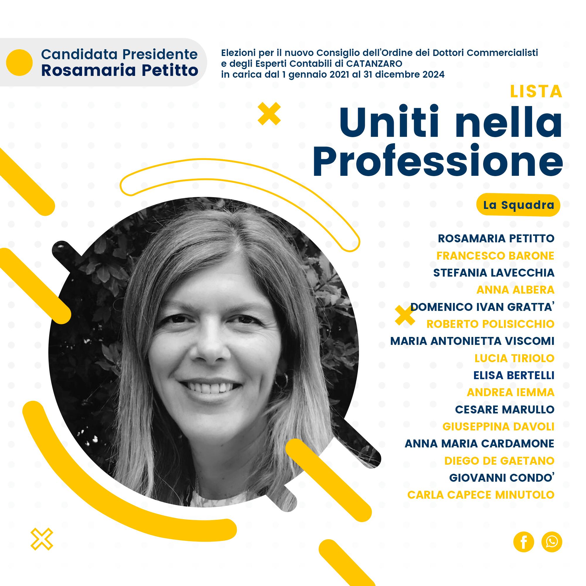 """Catanzaro: Rosamaria Petitto presenta il programma della lista """"Uniti nella Professione"""", per l'Ordine dei Dottori Commercialisti e degli Esperti Contabili di Catanzaro"""