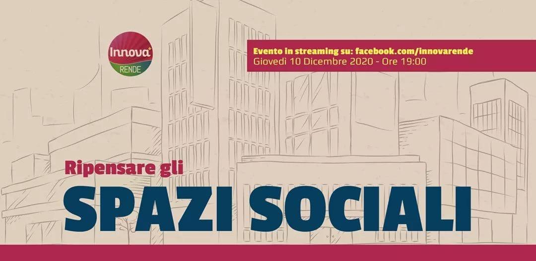 """Innova Rende: domani webinar su """"Ripensare gli spazi sociali"""""""
