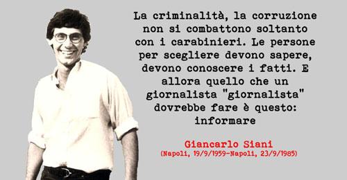 La strada intitolata al ministro fascista, sarà dedicata a Giancarlo Siani giornalista ucciso dalla camorra. Grazie PiF
